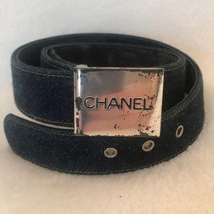 Authentic CHANEL navy blue Denim Buckle Logo Belt